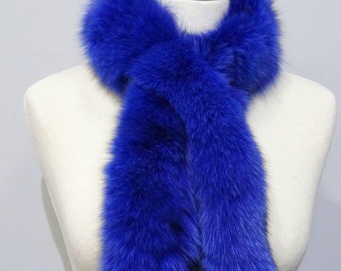 """""""Trendi"""" Fox fur scarf - Blue Scarf F829"""