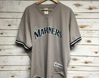 Vintage 90's Seattle Mariners baseball jersey Majestic Made in USA Dark Gray Mariners pullover mesh jersey baseball jersey - XL