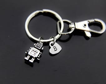 Robot Keychain Robot Key ring Silver Robot Charm Robot Jewelry Robotics Engineer Gift Personalized Initial Charm Initial Keychain