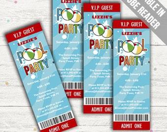 Swimming Party Invitations. Editable PDF. Printable. Instant Download.