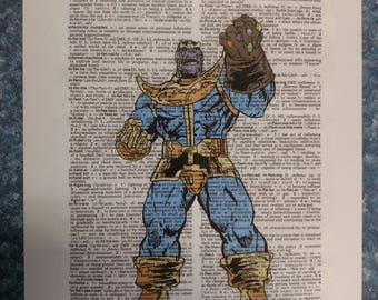 Marvel Comics Thanos with Infinity Gauntlet on dictionary page print