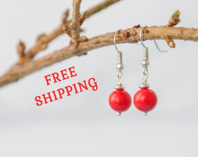 Bright red earrings for girls, Red color earrings, Small red earrings, Small earrings, Small dangle earrings, Simple earrings, 8-18 mm ball