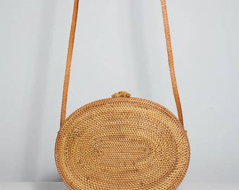 Oval Woven Bag, oval shoulder bag, oval Ata bag, basket bag