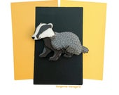 Badger Vintage Inspired Novelty Brooch - Magical Statement Brooch -  Woodland Animal Jewelry