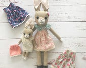 Heirloom Bunny Rag Doll mama and baby; reserved for AS