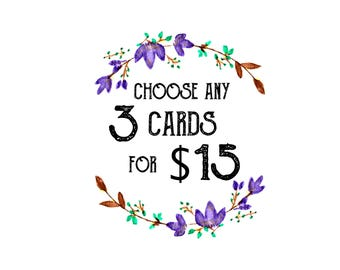 Choose Any 3 Cards for 15 Dollars / Card Set / Valentine's Day Cards / Valentine's Cards / Note Cards / For Friends / For Significant Other