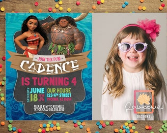 Moana Kids Birthday Invitation - ANY AGE - Colors can be Customized!