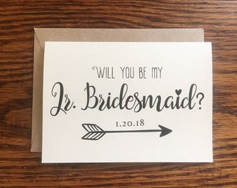 Will You Be My Jr Bridesmaid Card, Jr Bridesmaid Proposal, Jr Bridesmaid Gift, Junior Bridesmaid Proposal, Wedding Party, Red Fern Studio