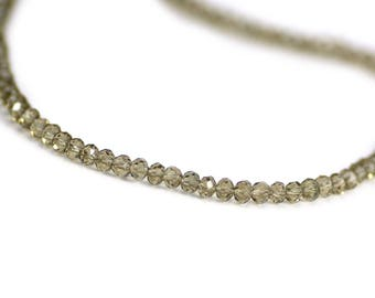 Chinese Crystal Tiny Rondelles Beads Smoky Gray Beige Transparent 2x3mm