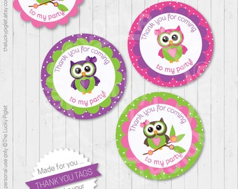OWL FAVOR TAGS, owl gift tags, owl party printables, Owl Party decoration, Owl birthday party tags,  | Instant Download, Non Customizable