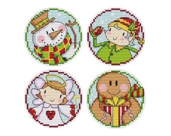 Chubby Christmas Set 2 - 4 Cross Stitch Patterns - Durene J Cross Stitch - DJXS2234