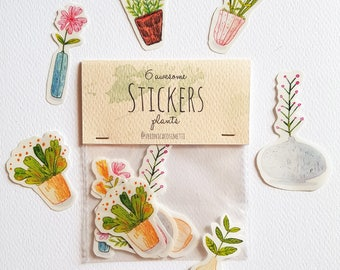 "6 ""PLANTS"" Stickers with transparent edges-Handmade illustrated Stickers-"