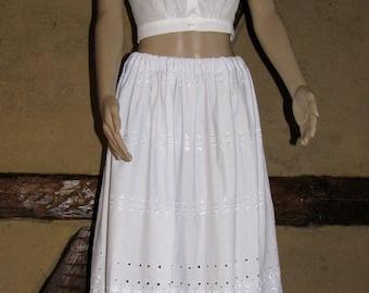 Vintage UNDER SKIRT maxi SLIP French lace crochet underdress white cotton underskirt skirt folk