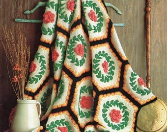 FREE SHIP Prize Afghans Magazine Booklet 1970s? 10 Patterns Crochet and Knit patterns Chevron Ripple Floral Wreath Granny Daisy Cameo  Clean