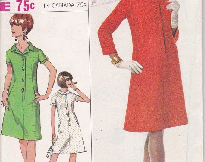Free Us Ship Sewing Pattern Vintage Retro 1960s 60s 1966 Simplicity 6872 Designer Fashion Mod Step In Dress Uncut Bust 32 Size 12