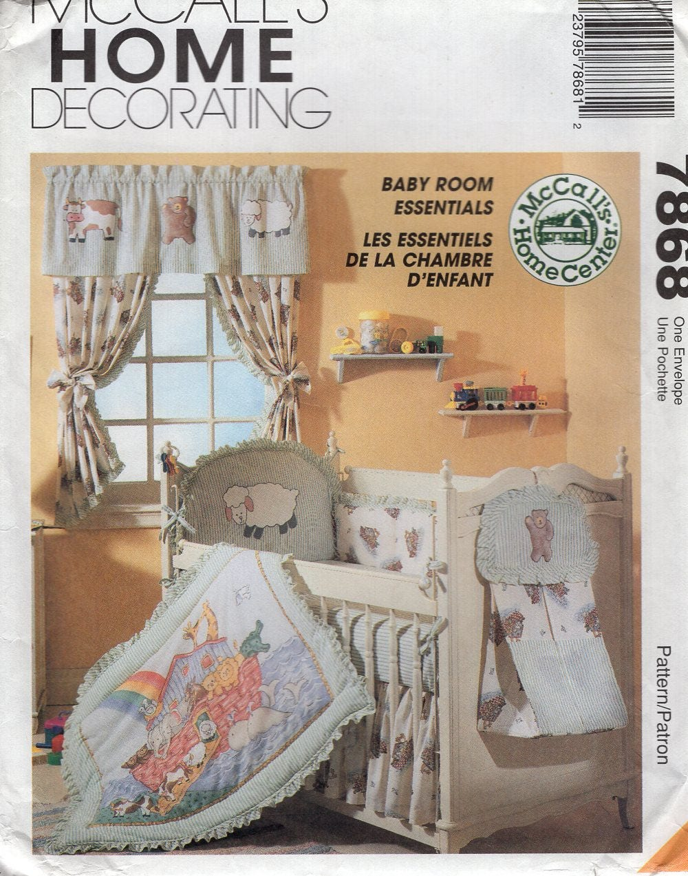 Free Us Ship 7868 McCalls Sewing Pattern Quilt Crib Sheet Pillow Bumpers  Baby Nursery Room Curtains High Chair Cover Diaper Stacker New FF