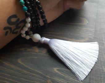 Mala, howlite, imperial Jasper, lava stone and onyx 108 beads, stones, yoga, meditation