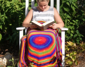 Crochet Lap Blanket/ Kids Reading Blanket- Rainbow