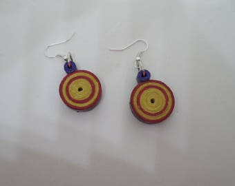 Red, yellow and purple paper earrings