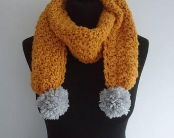 READY TO SHIP Hand Crocheted Adult Mustard Pom Pom Scarf (Matching Toddler Scarf Available for Mummy and Me Set)
