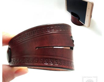 Leather cuff bracelet gadget, Bracelet  gadget, Smartphone stand,  Phone holder bracelet, Leather wristband unisex.