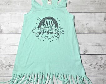 without rain there would never be rainbows - fringe dress - mint dress - rainbow baby 3T