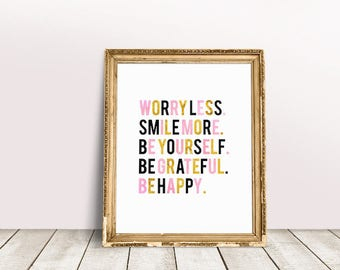 Smile Quote | Inspiring Quote, Inspiring Wall Quote, Inspiring Sayings, Better Life Quotes, Quotes About Life, Smile More, Worry Less
