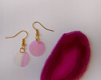 Pink Iridescent Circle Earrings