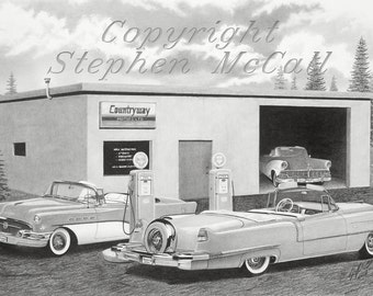 "Giclee print of original pencil drawing ""CountryWay '56"", classic cars, car drawings, gifts for men, Cadillacs, old cars, mechanic"