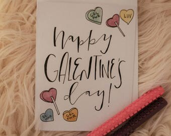 galentine's day handmade watercolor card