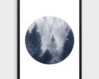 Forest Print | Forest Art, Minimalist Wall Art, Black and White Forest, Misty Forest, Circle Print, Minimalist Art, Trees,Affiche Scandinave