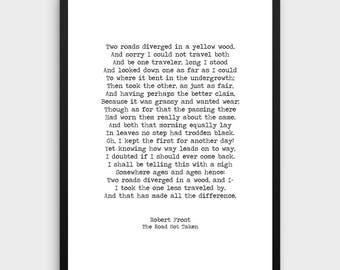 "Robert Frost ""The Road Not Taken"" Print | Literature Poster, Love Poem,Poem Print,Literature Art,Literature Print, Book Art,Typewriter Quote"