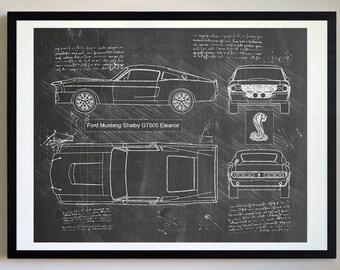 Ford Mustang Shelby GT500 Eleanor (1967) Da Vinci Sketch, Mustang Artwork, Patent Prints Posters, Mustang Decor, Art, Car Art, Cars (#268)