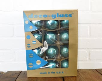 Vintage Deco Glass Co. Inc Corning Blue Christmas Ornaments, Christmas Tree Ornaments, Collectible