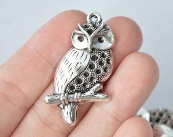 3 Pcs Owl Pendants Antique Silver Tone 40x22mm - YD1873
