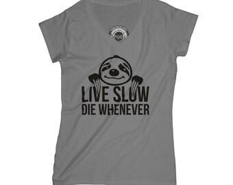 Sloth t-shirt funny t-shirt animals t-shirt live slow shirt sarcastic t-shirt sibling gift sister gift mom gift no stress gift  APV28