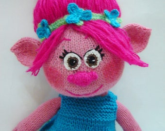 Troll Pink тroll Doll troll Knitted doll Doll аrt Handmade дoll Birthday present Gift for a child Toy troll Knitted toy  Children's toy Doll