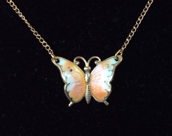 Beauster Sterling Silver Enamel Butterfly Pendant Chain Necklace