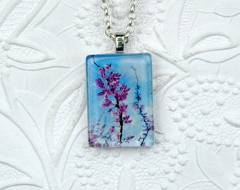 Rectangle Photo Necklace depicting Redbud Tree and Sky