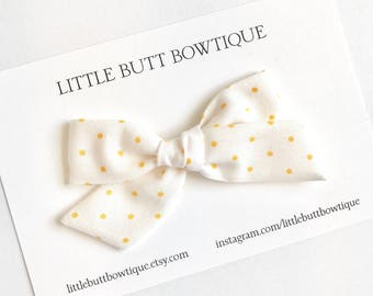 White with Yellow Polka Dots // Hand Tied, Schoolgirl, Fabric Bow