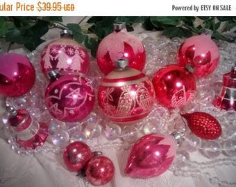 ON SALE Vintage Coral Mercury Glass Christmas Ornaments – Set of 13 with a Mix of Sizes and Shapes