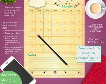 Queen Bee Monthly Planner Page