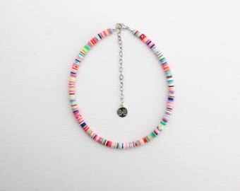 Beaded Disc Choker - Sunset // Multicolored, Rainbow