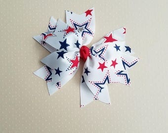 Girls Red White and Blue Hair Bow, Spiky Hair Bow, Patriotic Bow, Girls Hair Bow, Girls Bow, Toddler Bow, Girls Hair Clip, Girls Barrette