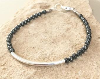 Black bracelet, hematite bracelet, sterling silver bracelet, Hill Tribe silver bracelet, gemstone bracelet, gray bracelet, gift for her