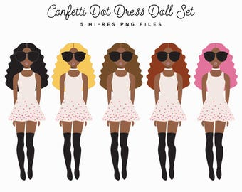 Glitter Dress Fashion Girl Clipart Set, African American Brunette Blonde Pink Planner Clipart Graphics, Valentine's Day Vday Doll Clipart