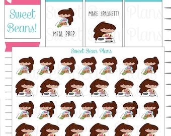 Cooking Dinner Doodle Girls Planner Stickers