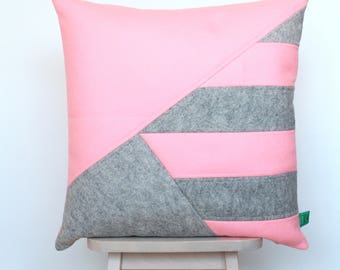Cushion cover pink wool felt