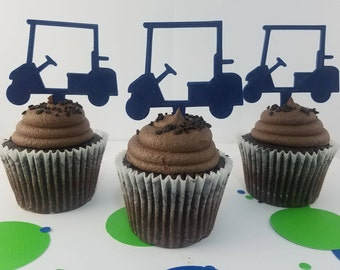 Golf Cart Cupcake Toppers - Golf Party - Cupcake Toppers - Golf Lover - Golfer Gift