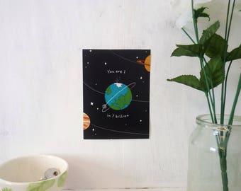 You Are 1 in 7 Billion ∙ Digital mini print ∙ Cute positivity art print